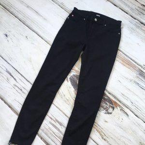 Hudson Natalie raw hem skinny ankle jeans black 24